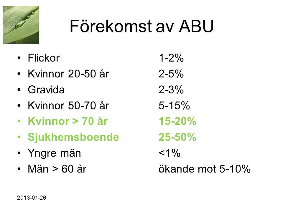 2013-01-26 Förekomst av ABU •Flickor1-2% •Kvinnor 20-50 år2-5% •Gravida2-3% •Kvinnor 50-70 år5-15% •Kvinnor > 70 år15-20% •Sjukhemsboende25-50% •Yngre män<1% •Män > 60 årökande mot 5-10%