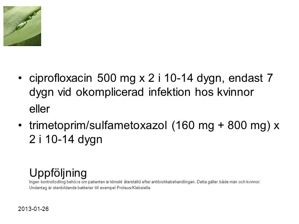 •ciprofloxacin 500 mg x 2 i 10-14 dygn, endast 7 dygn vid okomplicerad infektion hos kvinnor eller •trimetoprim/sulfametoxazol (160 mg + 800 mg) x 2 i 10-14 dygn Uppföljning Ingen kontrollodling behövs om patienten är kliniskt återställd efter antibiotikabehandlingen.