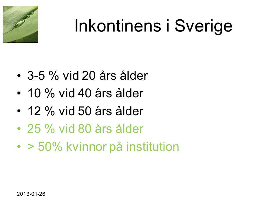 Inkontinens i Sverige •3-5 % vid 20 års ålder •10 % vid 40 års ålder •12 % vid 50 års ålder •25 % vid 80 års ålder •> 50% kvinnor på institution