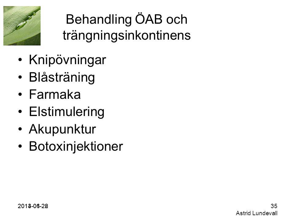2013-01-262014-06-2235 Astrid Lundevall Behandling ÖAB och trängningsinkontinens •Knipövningar •Blåsträning •Farmaka •Elstimulering •Akupunktur •Botoxinjektioner