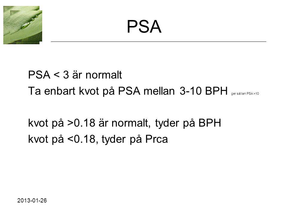 PSA PSA < 3 är normalt Ta enbart kvot på PSA mellan 3-10 BPH ger sällan PSA >10 kvot på >0.18 är normalt, tyder på BPH kvot på <0.18, tyder på Prca