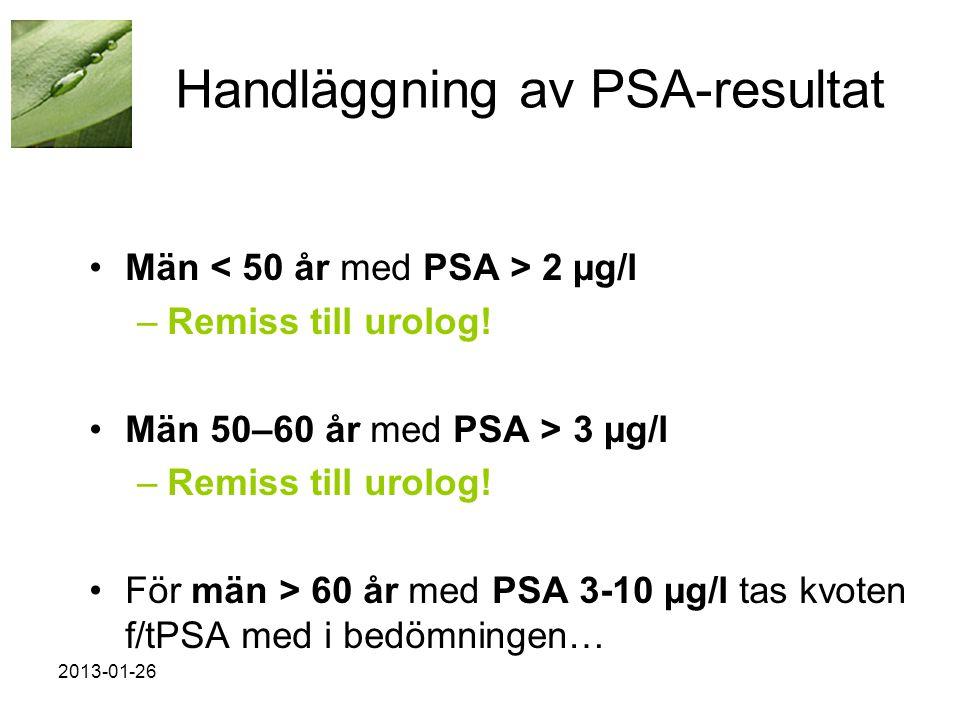 2013-01-26 Handläggning av PSA-resultat •Män 2 µg/l –Remiss till urolog.