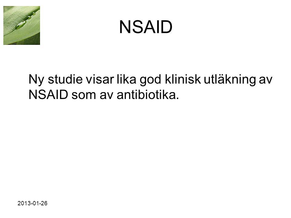 2013-01-26 NSAID Ny studie visar lika god klinisk utläkning av NSAID som av antibiotika.