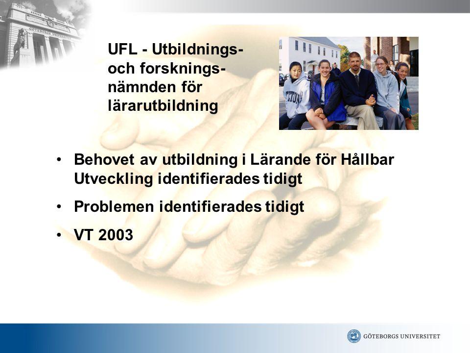 UFL - Utbildnings- och forsknings- nämnden för lärarutbildning •Behovet av utbildning i Lärande för Hållbar Utveckling identifierades tidigt •Problemen identifierades tidigt •VT 2003