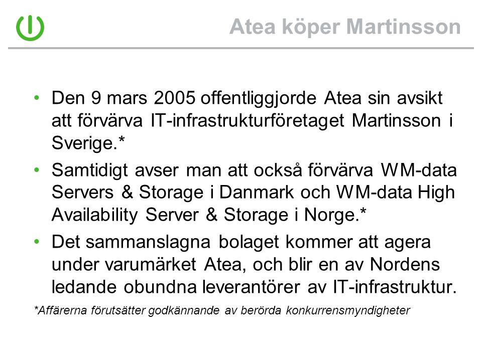 Atea köper Martinsson •Den 9 mars 2005 offentliggjorde Atea sin avsikt att förvärva IT-infrastrukturföretaget Martinsson i Sverige.* •Samtidigt avser