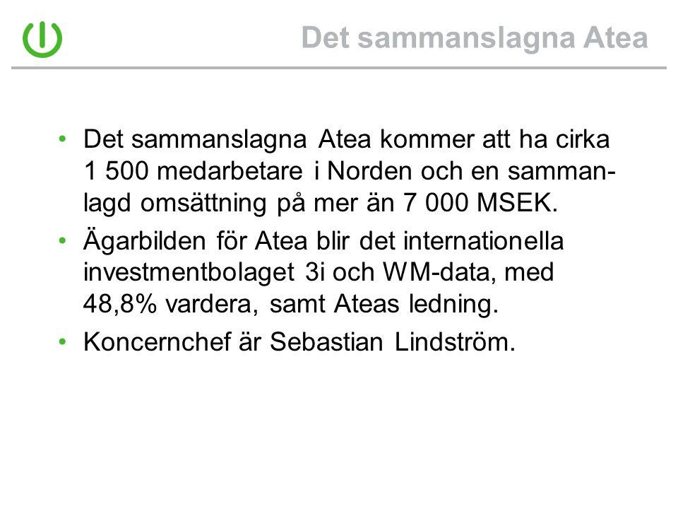 Det sammanslagna Atea •Det sammanslagna Atea kommer att ha cirka 1 500 medarbetare i Norden och en samman- lagd omsättning på mer än 7 000 MSEK. •Ägar