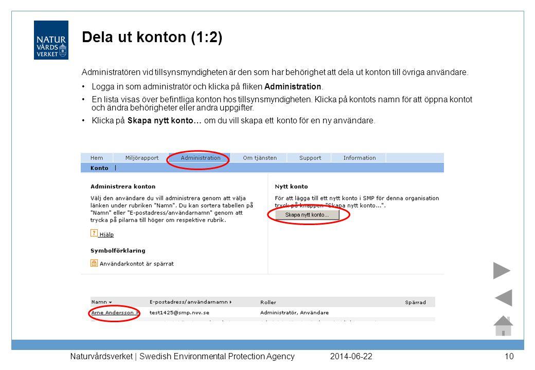 2014-06-22 Naturvårdsverket | Swedish Environmental Protection Agency 11 Dela ut konton (2:2) •Fyll i uppgifterna för förnamn, efternamn, e-postadress/användarnamn samt en eller två roller för användaren.