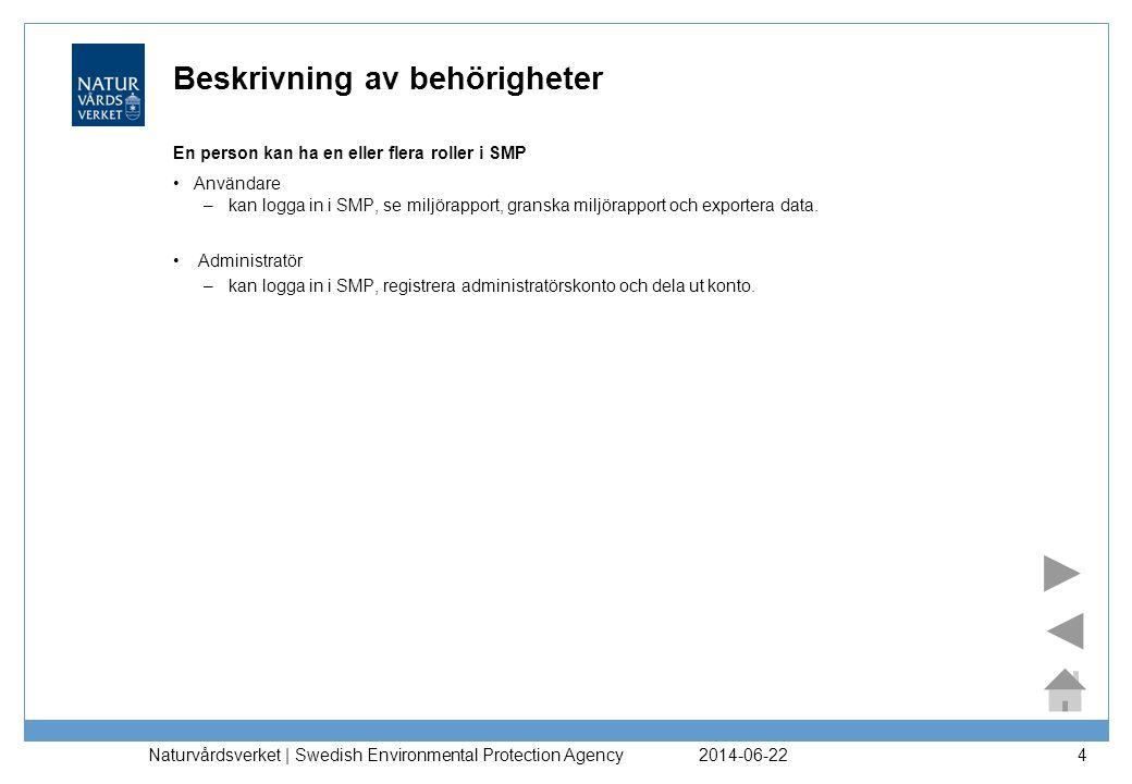 2014-06-22 Naturvårdsverket | Swedish Environmental Protection Agency 4 Beskrivning av behörigheter En person kan ha en eller flera roller i SMP •Anvä