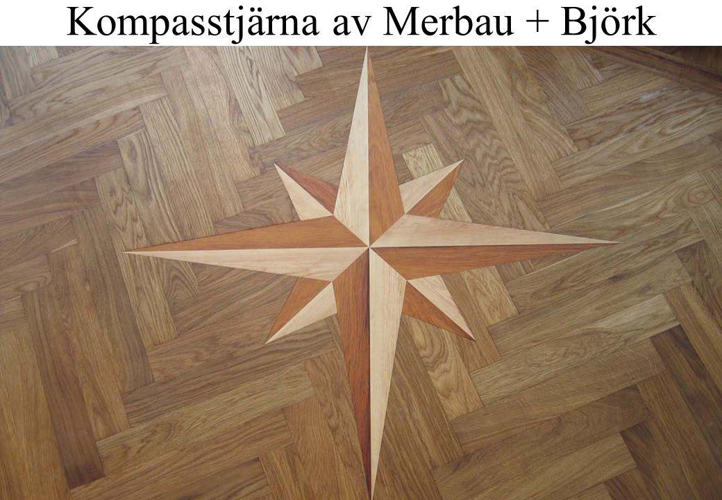 12 Kompasstjärna av Merbau + Björk
