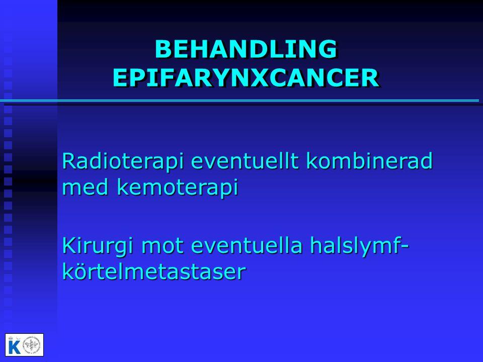 BEHANDLING EPIFARYNXCANCER Radioterapi eventuellt kombinerad med kemoterapi Kirurgi mot eventuella halslymf- körtelmetastaser