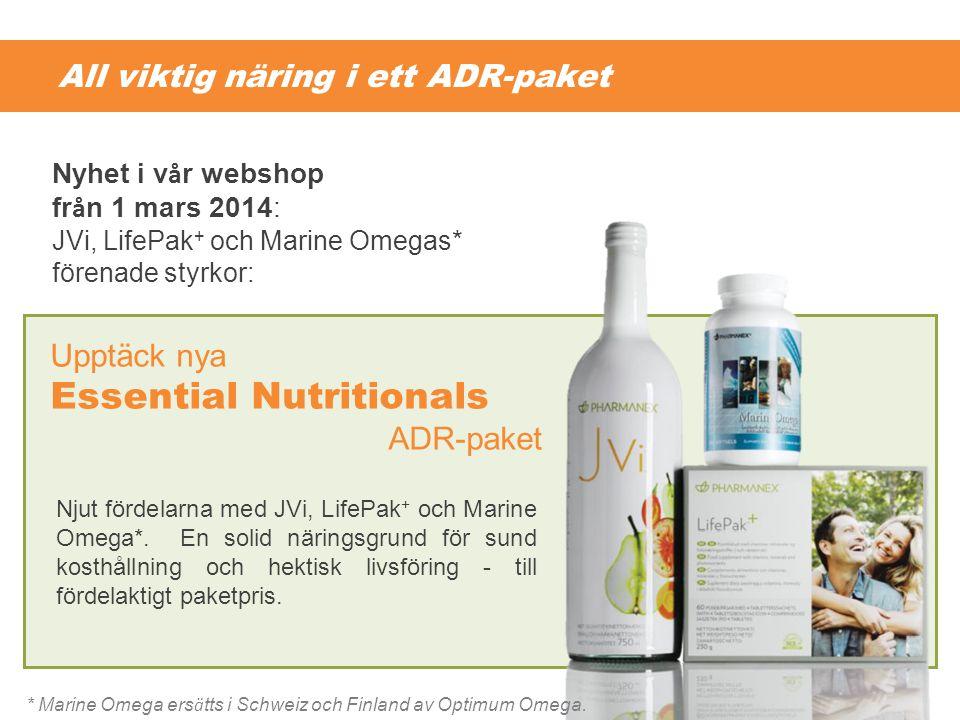 All viktig näring i ett ADR-paket Njut fördelarna med JVi, LifePak + och Marine Omega*. En solid näringsgrund för sund kosthållning och hektisk livsfö
