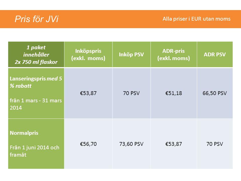 Pris för JVi 1 paket innehåller 2x 750 ml flaskor Inköpspris (exkl. moms) Inköp PSV ADR-pris (exkl. moms) ADR PSV Lanseringspris med 5 % rabatt från 1