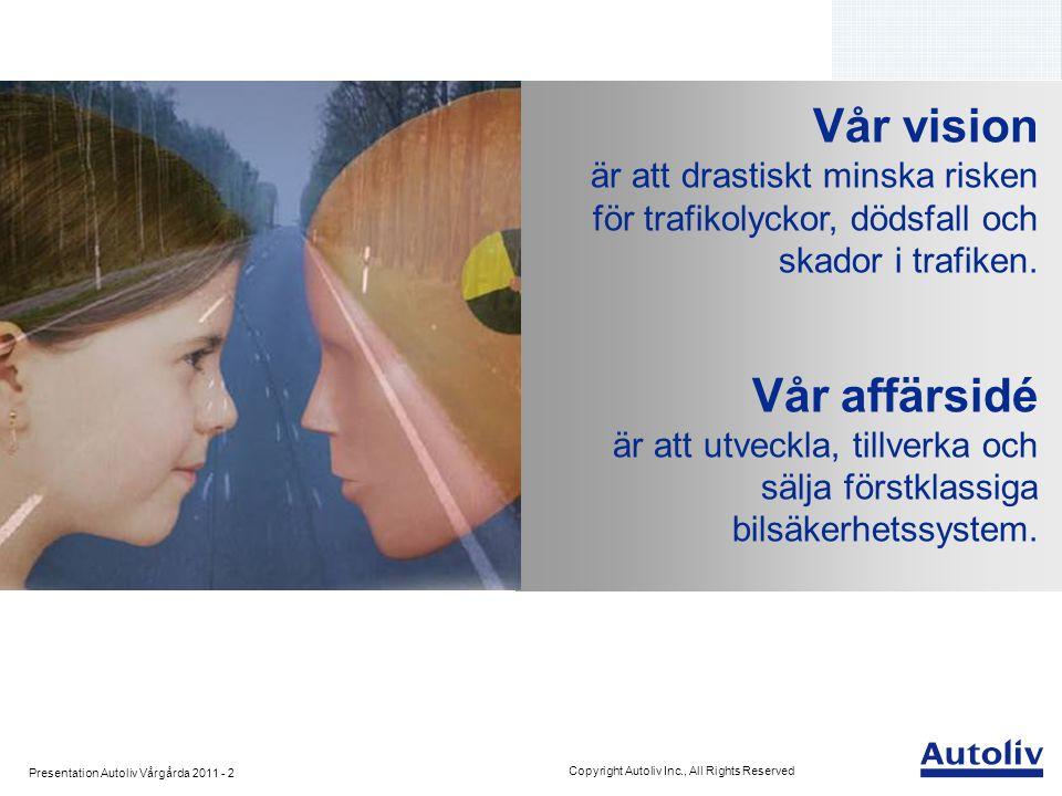 Presentation Autoliv Vårgårda 2011 - 2 Copyright Autoliv Inc., All Rights Reserved Vår vision är att drastiskt minska risken för trafikolyckor, dödsfa