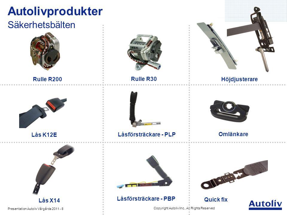 Presentation Autoliv Vårgårda 2011 - 8 Copyright Autoliv Inc., All Rights Reserved Autolivprodukter Säkerhetsbälten Omlänkare Låsförsträckare - PBP Ru