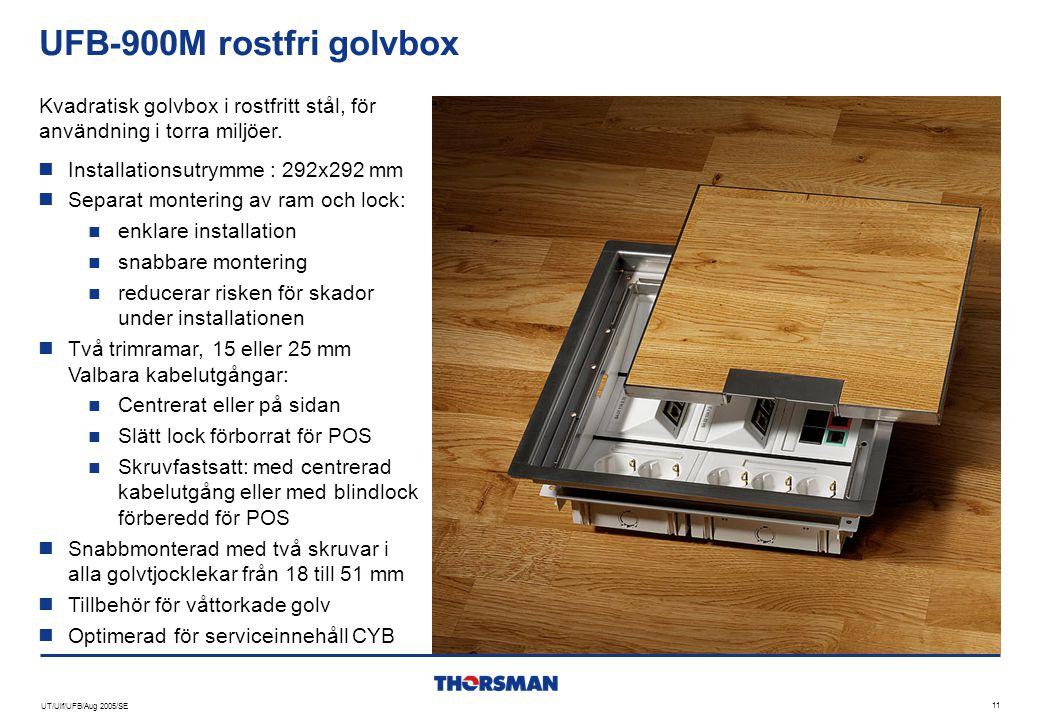 UT/Ulf/UFB/Aug 2005/SE 11 UFB-900M rostfri golvbox  Installationsutrymme : 292x292 mm  Separat montering av ram och lock:  enklare installation  s