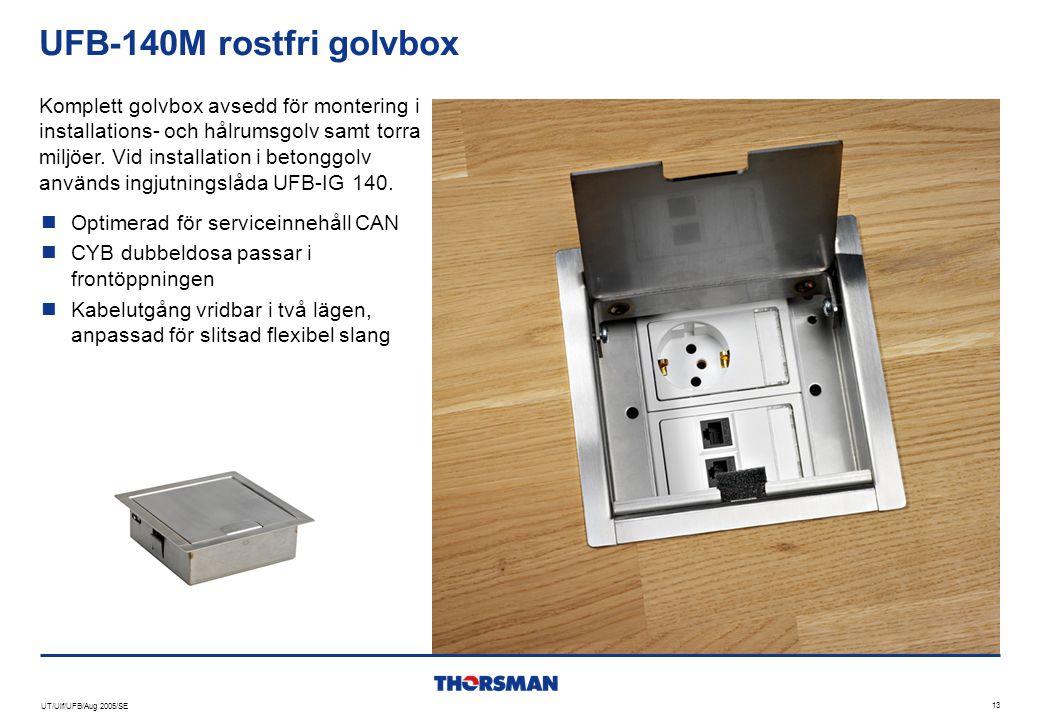 UT/Ulf/UFB/Aug 2005/SE 13 UFB-140M rostfri golvbox  Optimerad för serviceinnehåll CAN  CYB dubbeldosa passar i frontöppningen  Kabelutgång vridbar