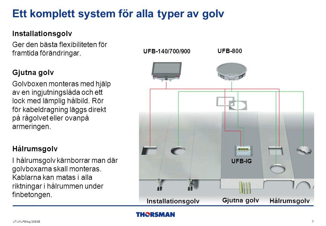 UT/Ulf/UFB/Aug 2005/SE 3 Ett komplett system för alla typer av golv Ger den bästa flexibiliteten för framtida förändringar. Installationsgolv Hålrumsg