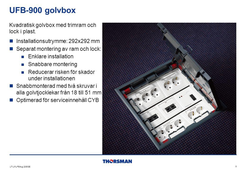 UT/Ulf/UFB/Aug 2005/SE 6 UFB-900 golvbox  Installationsutrymme: 292x292 mm  Separat montering av ram och lock:  Enklare installation  Snabbare mon