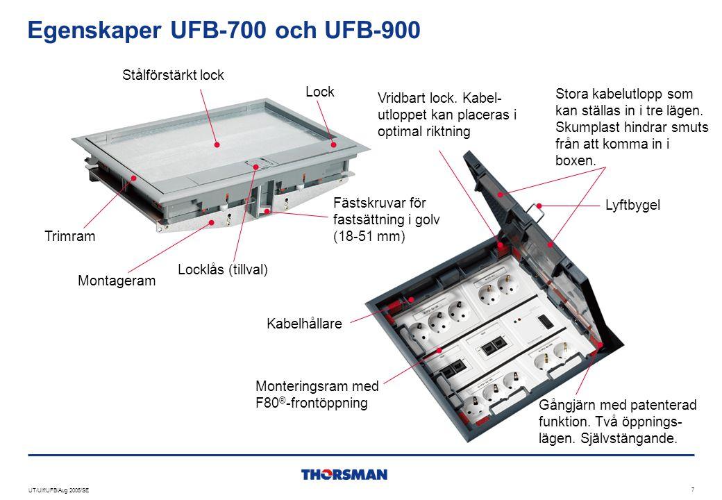 UT/Ulf/UFB/Aug 2005/SE 8 UFB-800 golvbox  Installationsutrymme : Ø 305 mm  Inre djup justerbart med steg om 5 mm, från 15 till 45 mm  Separat montering av ram och lock:  Enklare installation  Snabbare montering  Reducerar risken för skador under installationen  Optimerad för serviceinnehåll CYB Rund golvbox med trimram och lock i plast.