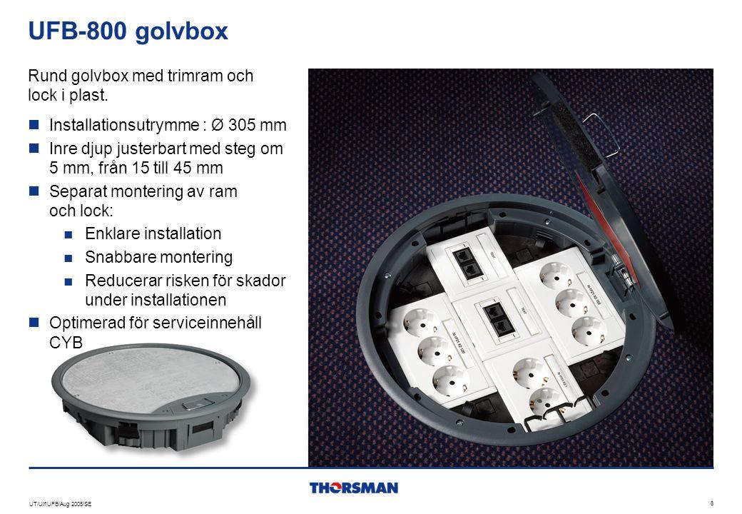 UT/Ulf/UFB/Aug 2005/SE 8 UFB-800 golvbox  Installationsutrymme : Ø 305 mm  Inre djup justerbart med steg om 5 mm, från 15 till 45 mm  Separat monte