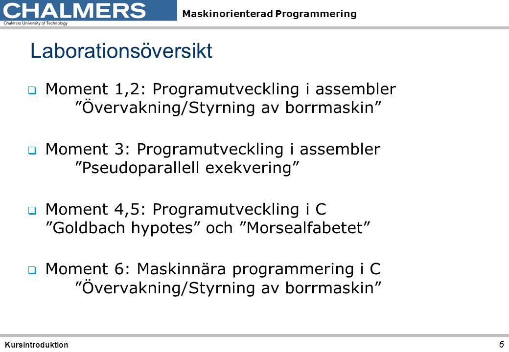 Maskinorienterad Programmering Laborationsplats 7 Kursintroduktion