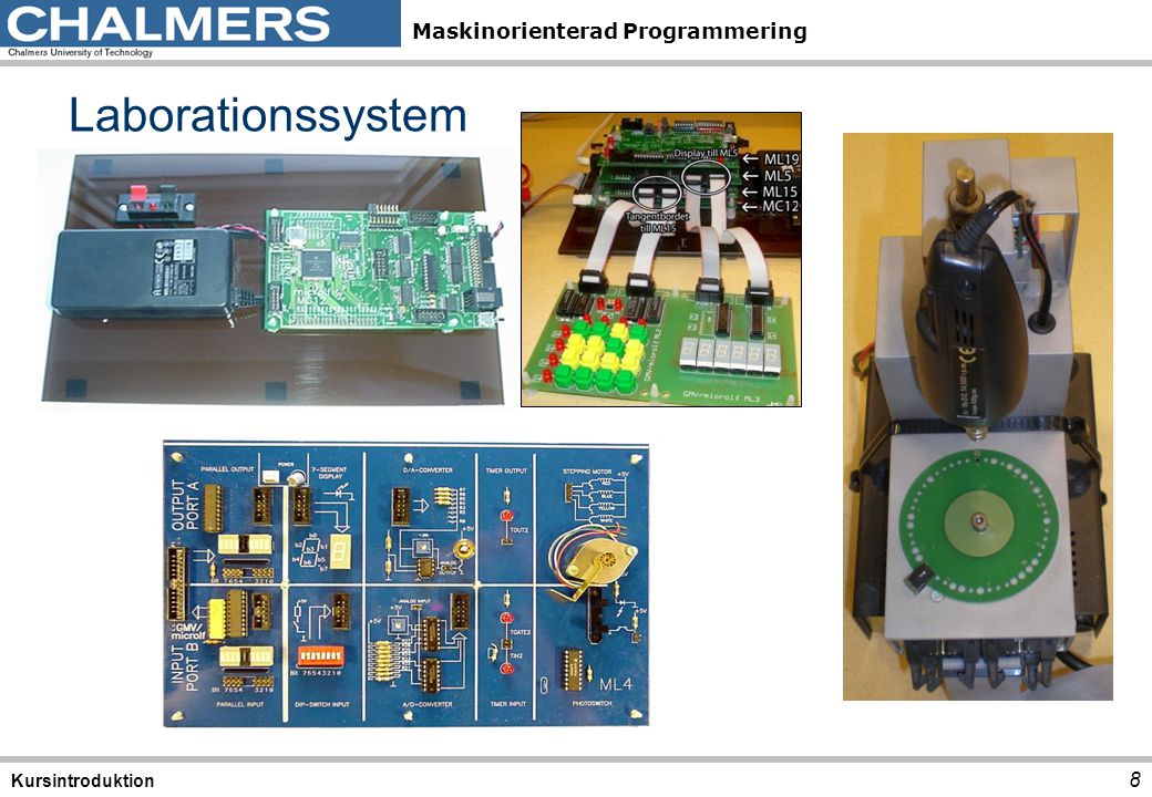 Maskinorienterad Programmering Borrmaskinen 9 Kursintroduktion Verklighetens borrmaskin Simulatorns borrmaskin