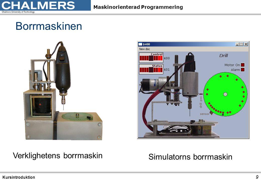 Maskinorienterad Programmering 10 Kursintroduktion ETERM för Simulator och laborations- system