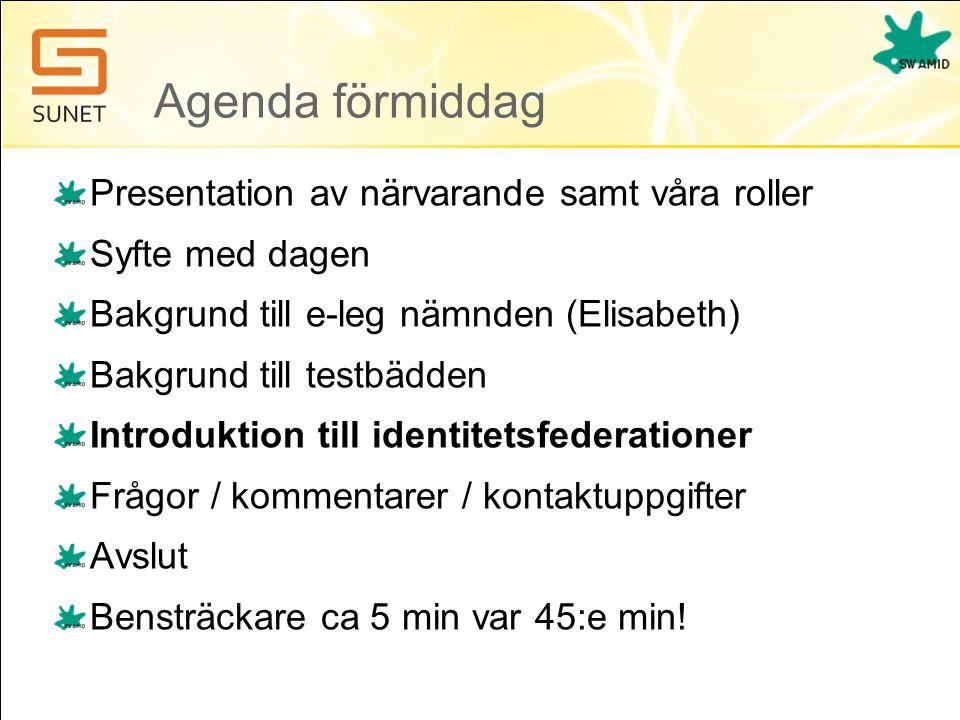 Agenda förmiddag Presentation av närvarande samt våra roller Syfte med dagen Bakgrund till e-leg nämnden (Elisabeth) Bakgrund till testbädden Introduktion till identitetsfederationer Frågor / kommentarer / kontaktuppgifter Avslut Bensträckare ca 5 min var 45:e min!