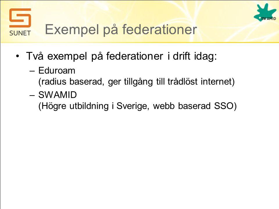 Exempel på federationer •Två exempel på federationer i drift idag: –Eduroam (radius baserad, ger tillgång till trådlöst internet) –SWAMID (Högre utbildning i Sverige, webb baserad SSO)