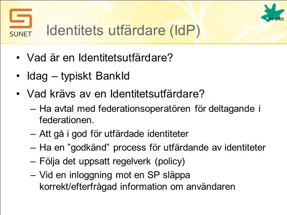 Identitets utfärdare (IdP) •Vad är en Identitetsutfärdare? •Idag – typiskt BankId •Vad krävs av en Identitetsutfärdare? –Ha avtal med federationsopera