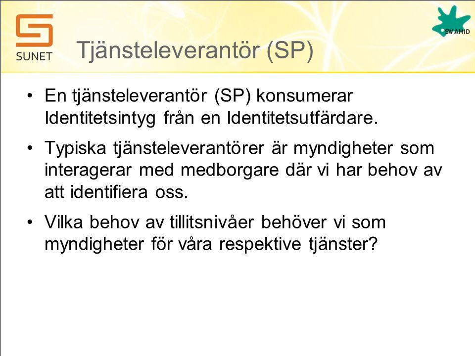 Tjänsteleverantör (SP) •En tjänsteleverantör (SP) konsumerar Identitetsintyg från en Identitetsutfärdare. •Typiska tjänsteleverantörer är myndigheter
