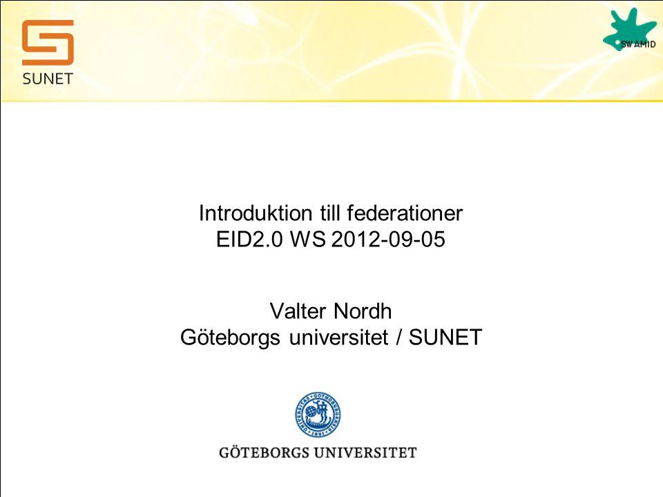 Presentation av närvarande •SUNET •E-legitimationsnämnden •Övriga deltagare
