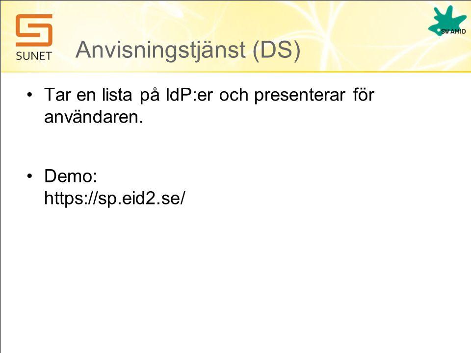 Anvisningstjänst (DS) •Tar en lista på IdP:er och presenterar för användaren. •Demo: https://sp.eid2.se/
