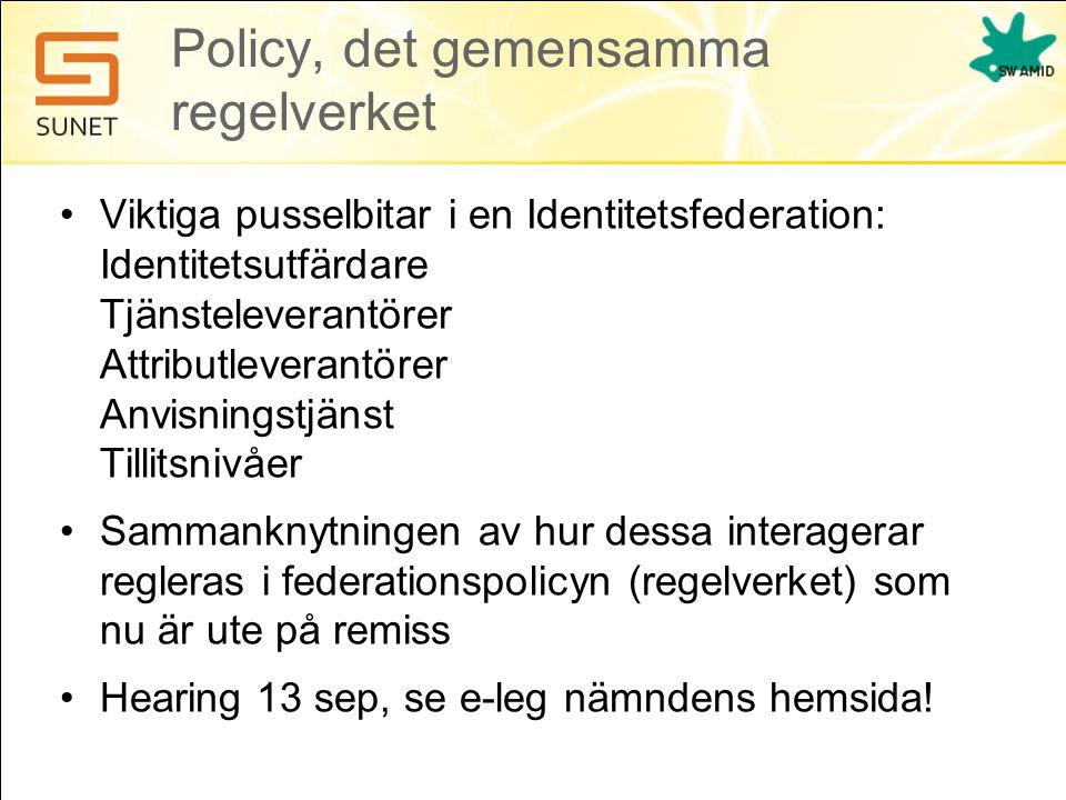 Policy, det gemensamma regelverket •Viktiga pusselbitar i en Identitetsfederation: Identitetsutfärdare Tjänsteleverantörer Attributleverantörer Anvisn