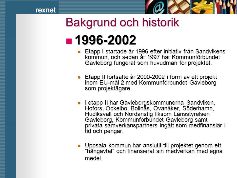 rexnet Bakgrund och historik  1996-2002  Etapp I startade år 1996 efter initiativ från Sandvikens kommun, och sedan år 1997 har Kommunförbundet Gävl