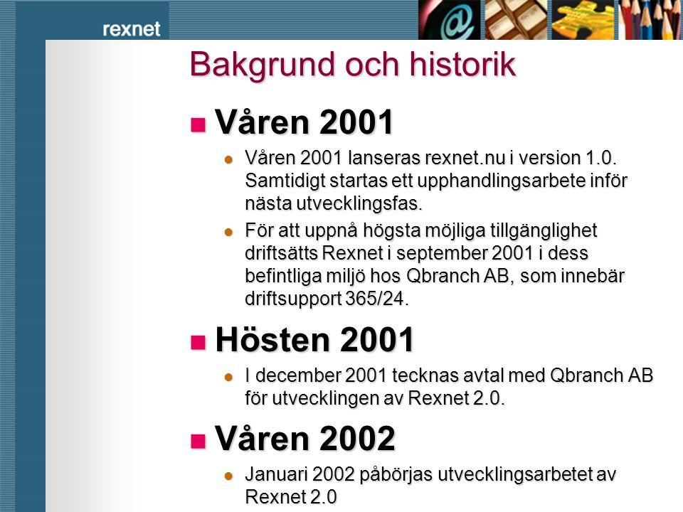 rexnet Bakgrund och historik  Våren 2001  Våren 2001 lanseras rexnet.nu i version 1.0. Samtidigt startas ett upphandlingsarbete inför nästa utveckli