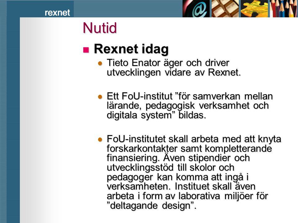"""rexnet Nutid  Rexnet idag  Tieto Enator äger och driver utvecklingen vidare av Rexnet.  Ett FoU-institut """"för samverkan mellan lärande, pedagogisk"""