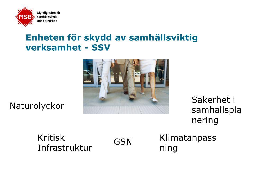 Enheten för skydd av samhällsviktig verksamhet - SSV Naturolyckor Kritisk Infrastruktur GSN Klimatanpass ning Säkerhet i samhällspla nering