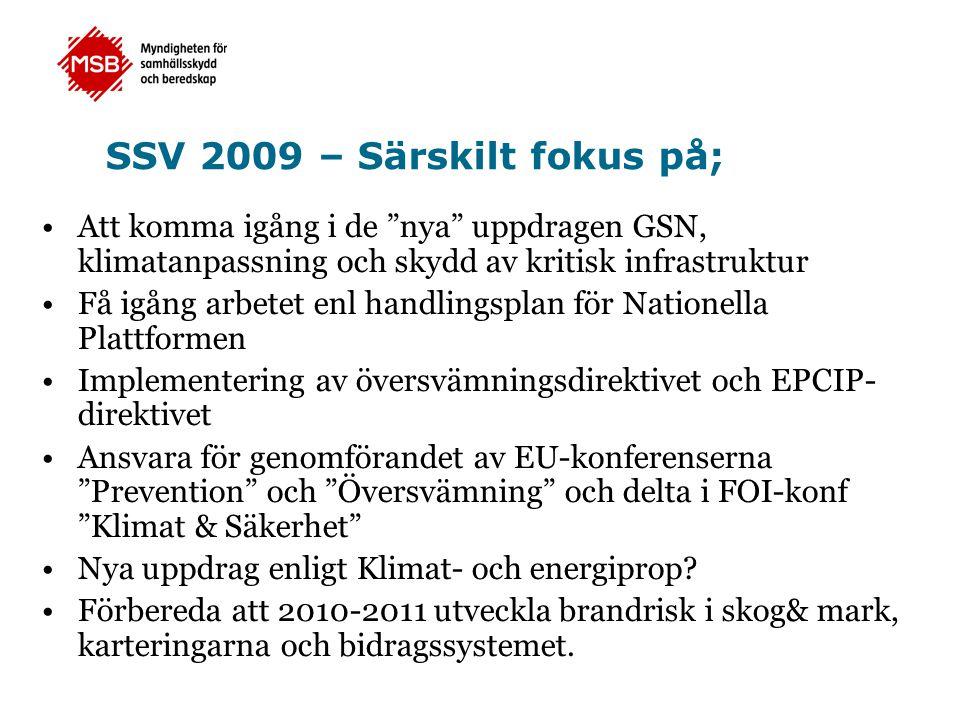 SSV 2009 – Särskilt fokus på; •Att komma igång i de nya uppdragen GSN, klimatanpassning och skydd av kritisk infrastruktur •Få igång arbetet enl handlingsplan för Nationella Plattformen •Implementering av översvämningsdirektivet och EPCIP- direktivet •Ansvara för genomförandet av EU-konferenserna Prevention och Översvämning och delta i FOI-konf Klimat & Säkerhet •Nya uppdrag enligt Klimat- och energiprop.