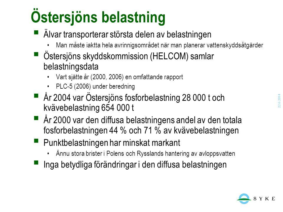 22.6.2014 Östersjöns belastning  Älvar transporterar största delen av belastningen •Man måste iaktta hela avrinnigsområdet när man planerar vattensky