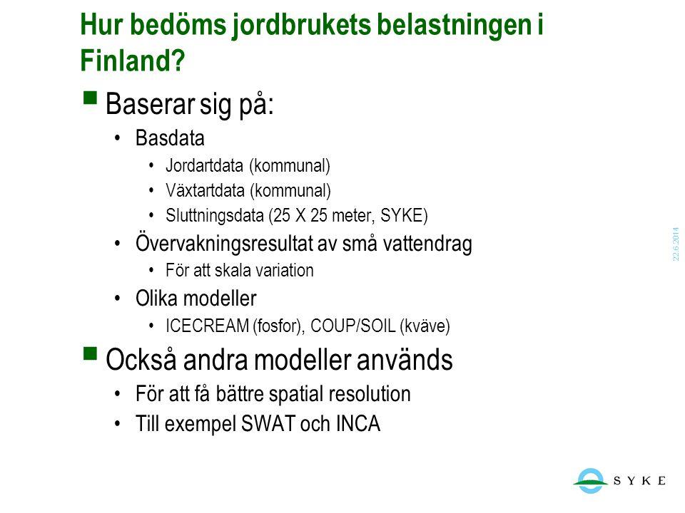 22.6.2014 Hur bedöms jordbrukets belastningen i Finland?  Baserar sig på: •Basdata •Jordartdata (kommunal) •Växtartdata (kommunal) •Sluttningsdata (2