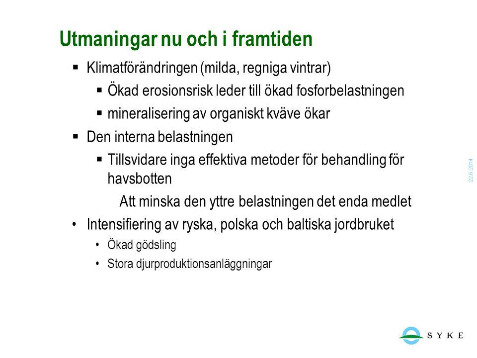 22.6.2014 Utmaningar nu och i framtiden  Klimatförändringen (milda, regniga vintrar)  Ökad erosionsrisk leder till ökad fosforbelastningen  mineral
