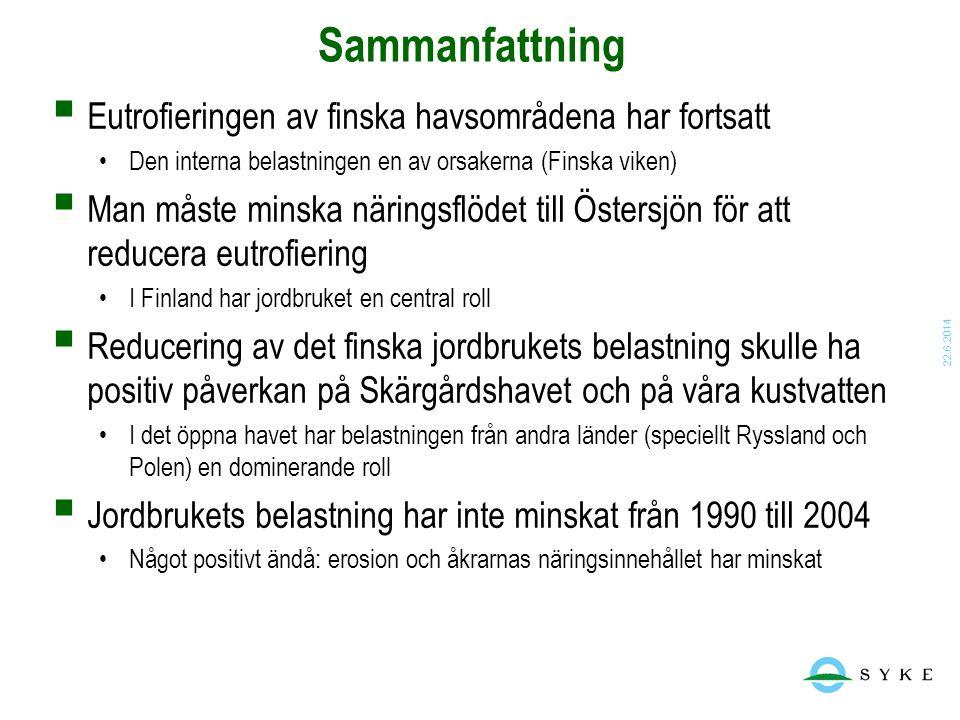22.6.2014 Sammanfattning  Eutrofieringen av finska havsområdena har fortsatt •Den interna belastningen en av orsakerna (Finska viken)  Man måste min