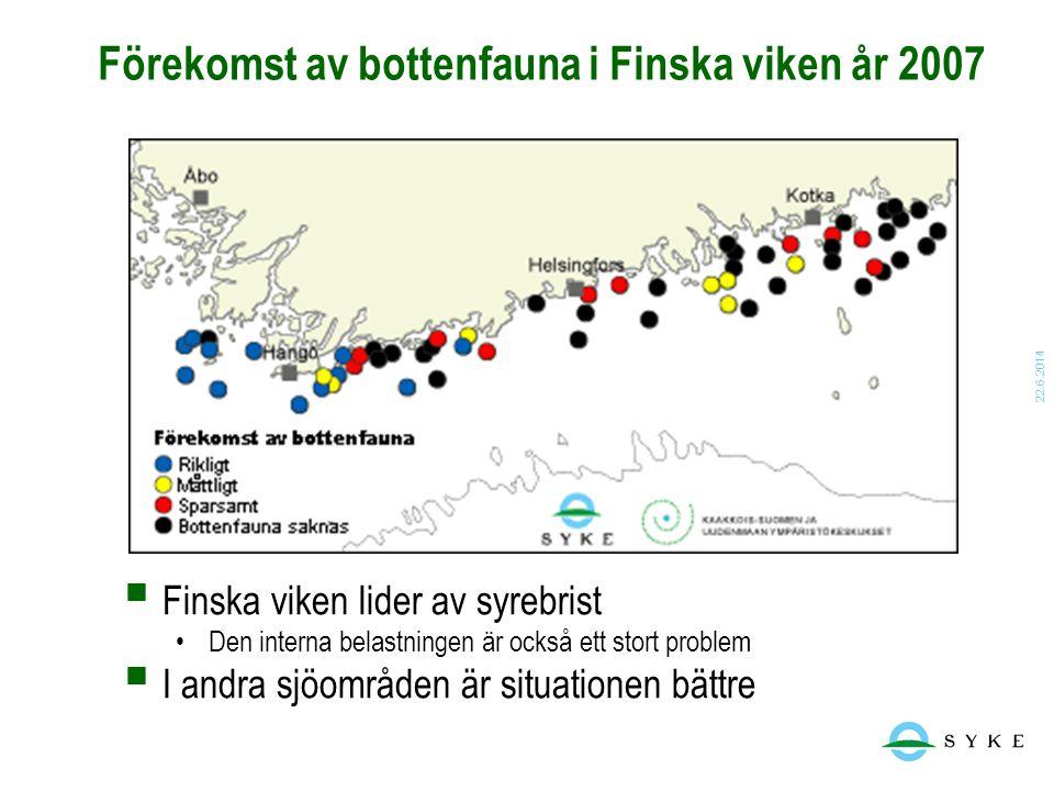 22.6.2014 Förekomst av bottenfauna i Finska viken år 2007  Finska viken lider av syrebrist •Den interna belastningen är också ett stort problem  I a