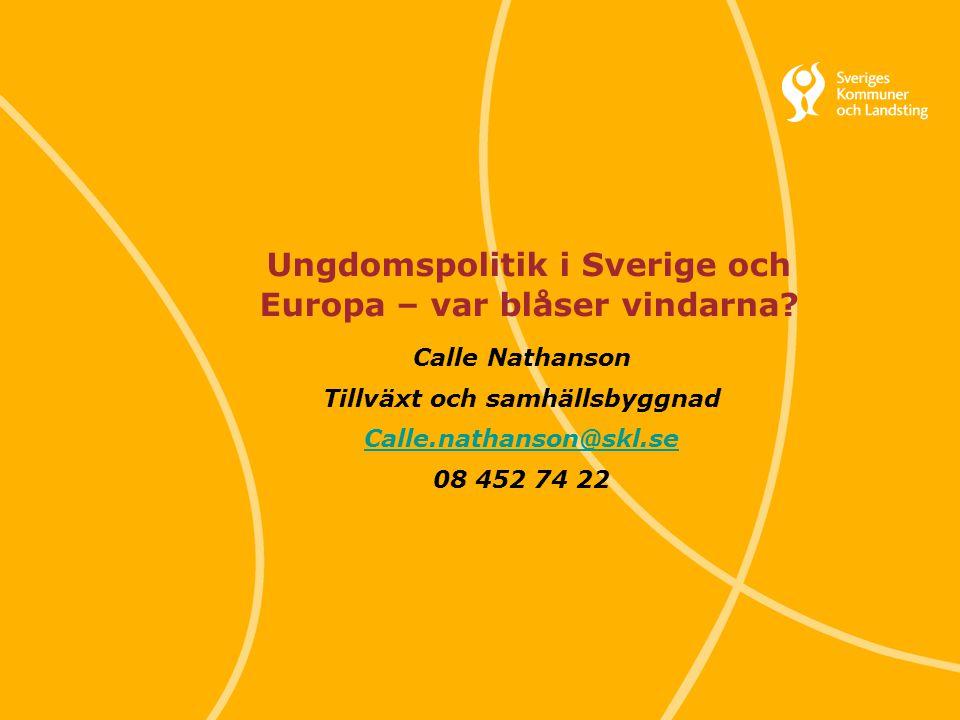 Svenska Kommunförbundet och Landstingsförbundet i samverkan 1 Ungdomspolitik i Sverige och Europa – var blåser vindarna? Calle Nathanson Tillväxt och