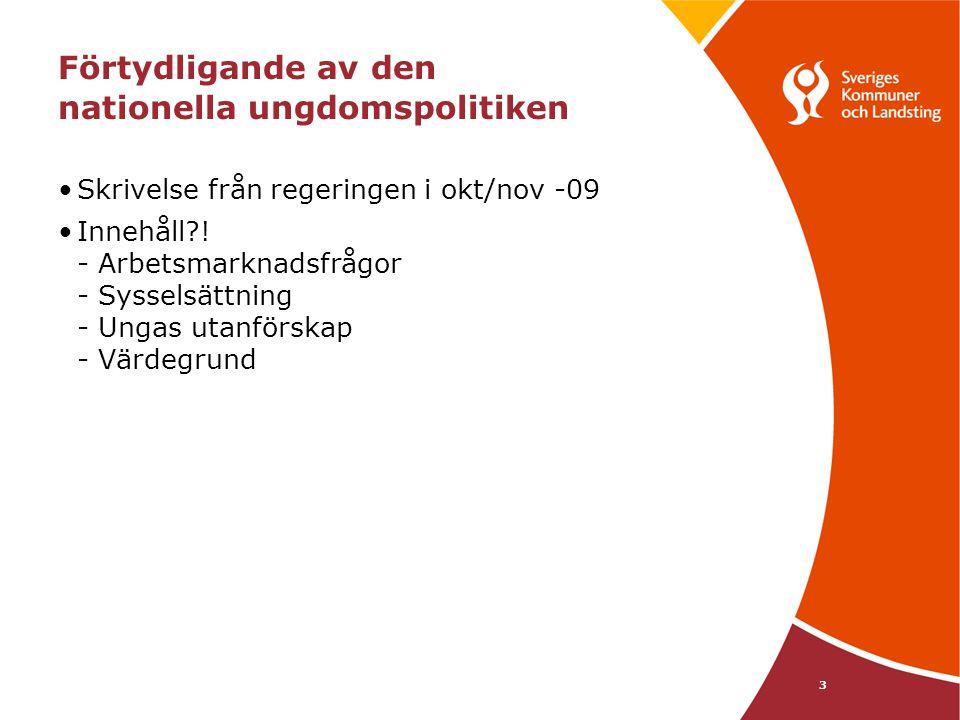 3 Förtydligande av den nationella ungdomspolitiken •Skrivelse från regeringen i okt/nov -09 •Innehåll?! - Arbetsmarknadsfrågor - Sysselsättning - Unga