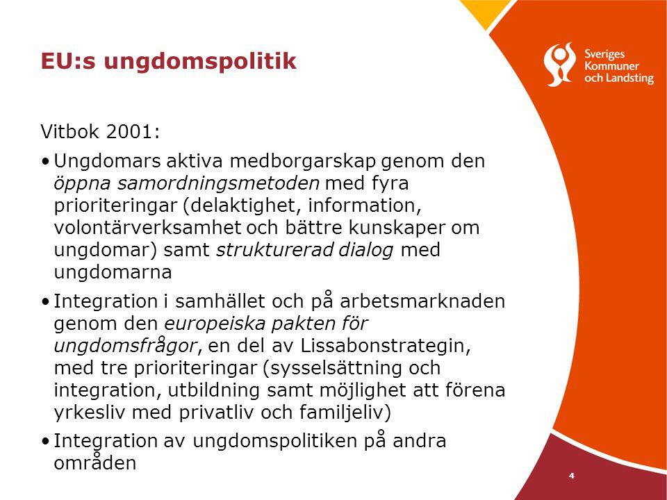 5 Meddelande från kommissionen • EU-strategi för ungdomar – satsa på ungdomars egna möjligheter , vt 2009 •Mål - Skapa mer möjligheter för ungdomar inom utbildning och sysselsättning - Förbättra tillgången och delaktigheten för alla ungdomar i samhället - Främja solidaritet mellan samhälle och ungdomar •Handlingsområden - Utbildning - Sysselsättning - Kreativitet och företagande - Hälsa och sport - Delaktighet - Social integration - Volontärverksamhet - Ungdomar i världen