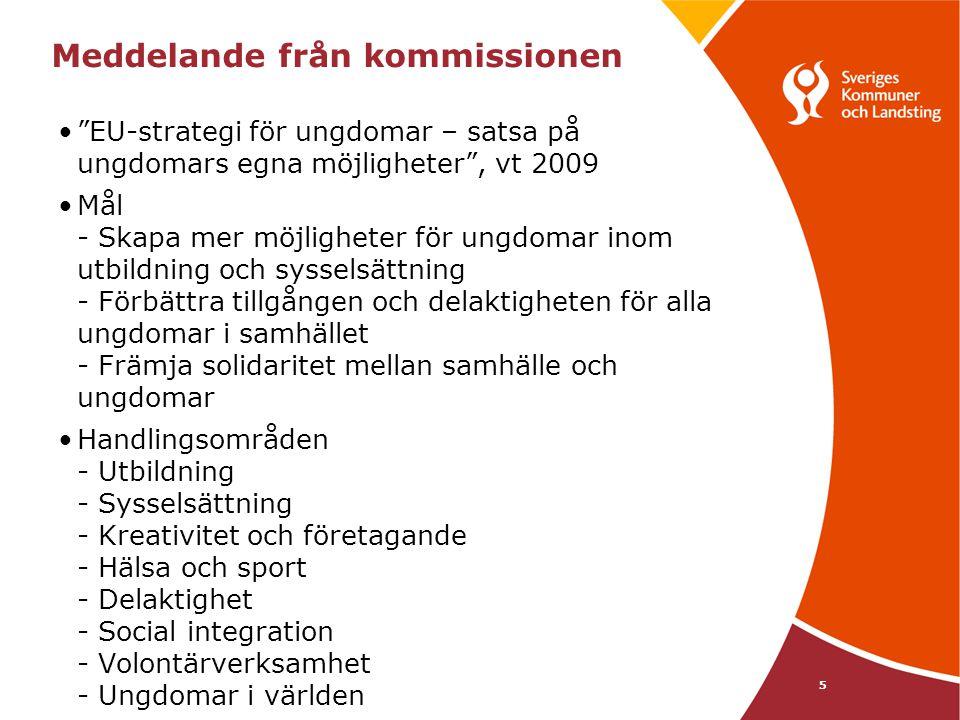 6 Vad gör SKL •Understödjer medlemmarna och driver frågor kring - Utbildning/arbetsmarknad: avd för lärande och arbetsmarknad (LA), Åsa Karlsson - Demokrati och inflytande: avd för ekonomi och styrning (ES), Kjell-Åke Eriksson - Psykisk hälsa: avd för vård och omsorg, Thomas Rostock - Kultur/fritid: avd för tillväxt och samhällsbyggnad, Calle Nathanson •Aktuellt just nu - Jobbgarantin för unga och samtidigt läsa på deltid - Temagruppen för unga i arbetslivet med arbetsförmedlingen, ungdomsstyrelsen, försäkringskassan mfl angående ESF, tusen nya ungdomsjobb i Luleå - Följer upp försörjningsstöden för unga som ökar markant.