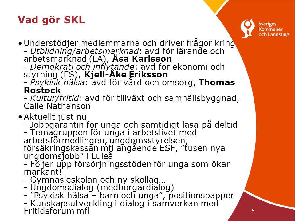 6 Vad gör SKL •Understödjer medlemmarna och driver frågor kring - Utbildning/arbetsmarknad: avd för lärande och arbetsmarknad (LA), Åsa Karlsson - Dem
