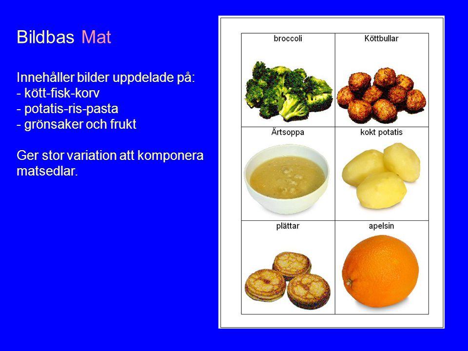 Bildbas Mat Innehåller bilder uppdelade på: - kött-fisk-korv - potatis-ris-pasta - grönsaker och frukt Ger stor variation att komponera matsedlar.